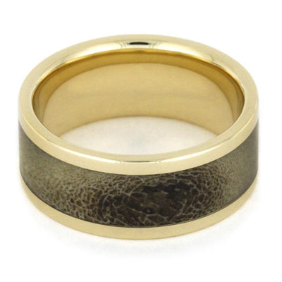 Yellow Gold Men's Wedding Band with Deer Antler Inlay-1825 - Jewelry by Johan