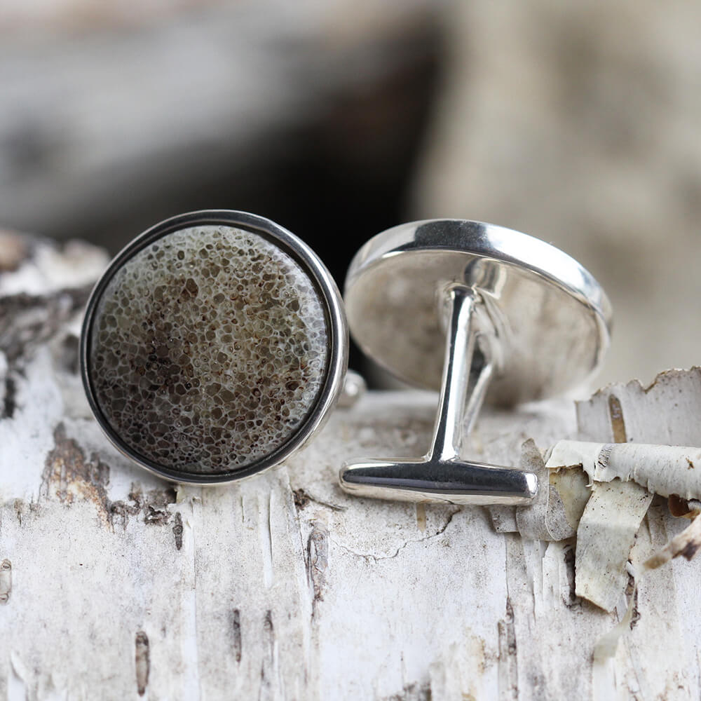 Round Cuff Links with Deer Antler, In Stock-SIG3047 - Jewelry by Johan