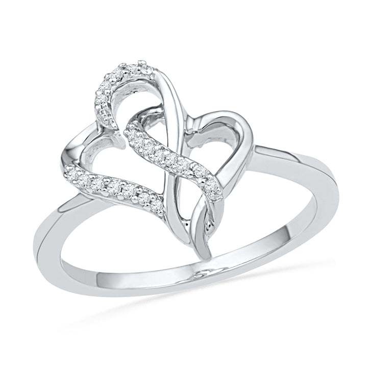 Intertwined Hearts Ring Promise Ring, Silver or Gold-SHRH018577 - Jewelry by Johan