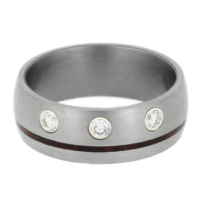 Ipe Wood Wedding Band With Diamonds, Brushed Titanium Ring-2374 - Jewelry by Johan