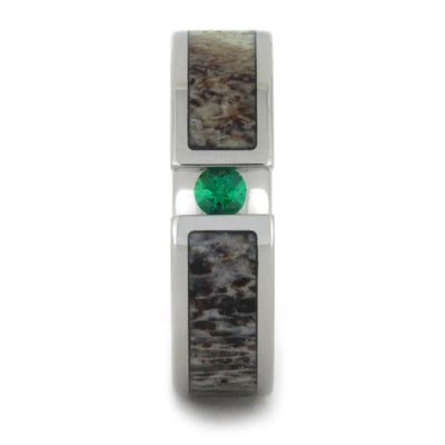 Tsavorite Garnet Ring With Antler Inlay-1714 - Jewelry by Johan