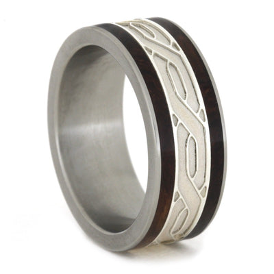 Silver Celtic Knot Rings with Honduran Rosewood Burl in Titanium-1810 - Jewelry by Johan