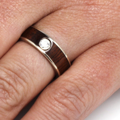 Wood Engagement Ring, Ipe Wood Engagement Ring in White Gold, Diamond Ring-3309 - Jewelry by Johan
