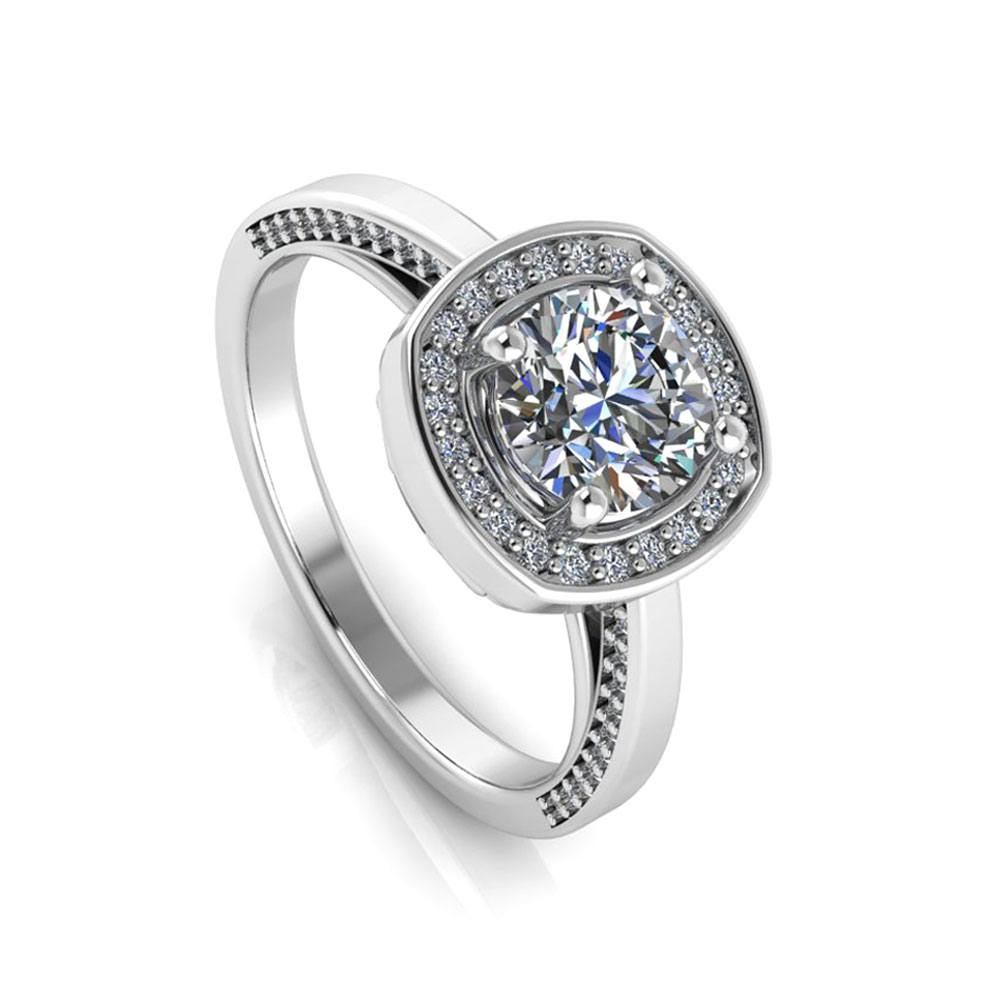 Forever One Moissanite Ring with Diamond Accents in White Gold-3377 - Jewelry by Johan