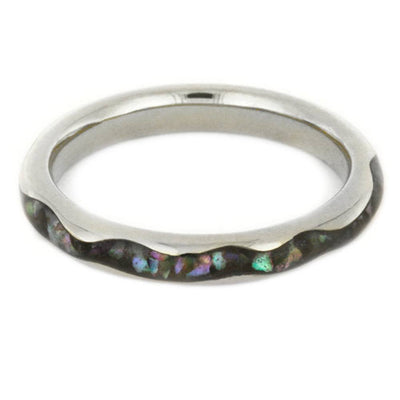 Abalone Wedding Band With Wavy Profile in 14k White Gold-3425 - Jewelry by Johan