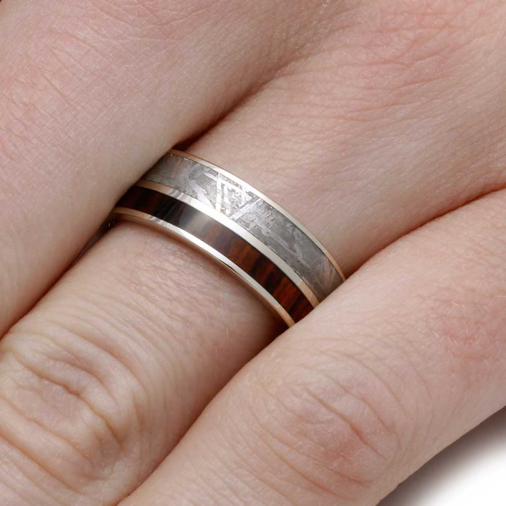 White Gold Wedding Band with Kingwood and Meteorite - Jewelry by Johan