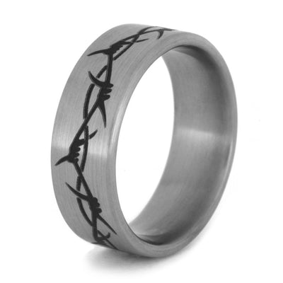 Engraved Titanium Ring With Barbed Wire Image, Size 10-RS8471 - Jewelry by Johan