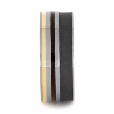 titanium wedding band with yellow gold and whiskey barrel wood strips