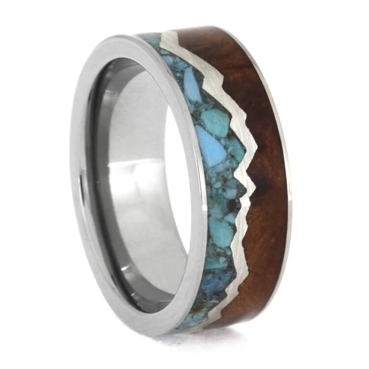 Redwood And Crushed Turquoise Ring Mountain Ring, Size 9-RS9318 - Jewelry by Johan