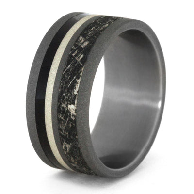 Unique Sandblasted Titanium With Mimetic Meteorite Engraving, Size 7-RS9160 - Jewelry by Johan