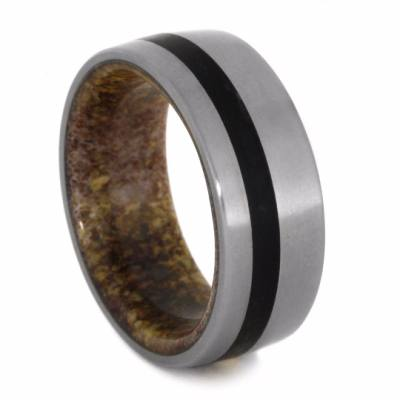 Obsidian And Titanium Wedding Band With Antler Inner Sleeve