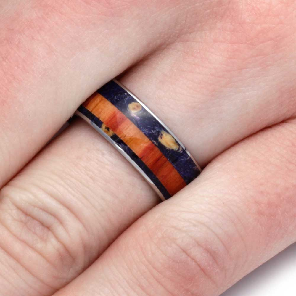 Wood Wedding Band With Purple Box Elder And Tulipwood - Jewelry by Johan