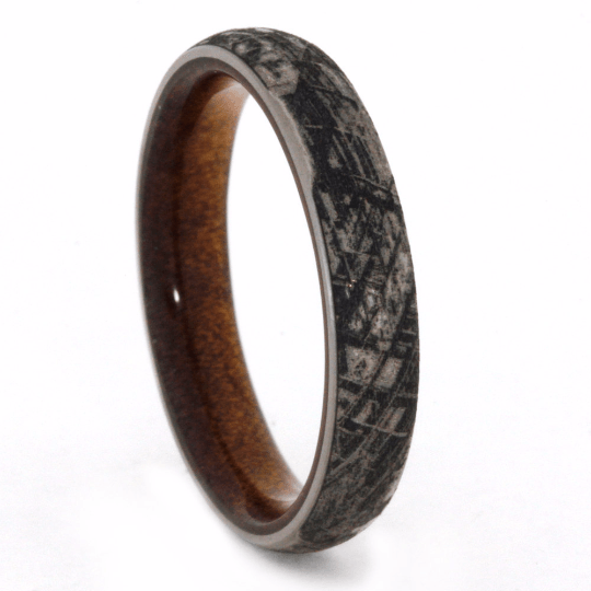 Engraved Men's Wedding Band With Kauri Wood Sleeve-2070 - Jewelry by Johan