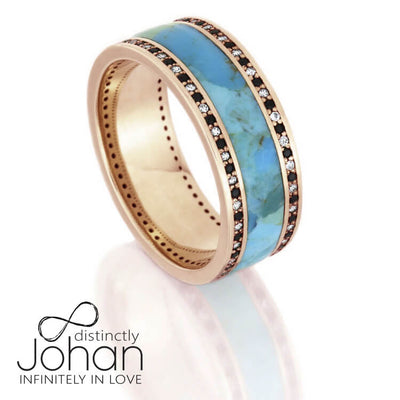 Turquoise Wedding Band, Diamond Eternity Ring In 14k Rose Gold-DJ1005RG