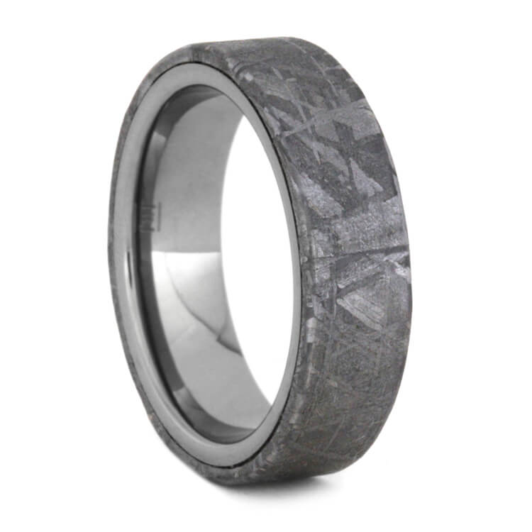Tungsten Wedding Band With Meteorite Overlay, Size 6.5-RS9537 - Jewelry by Johan