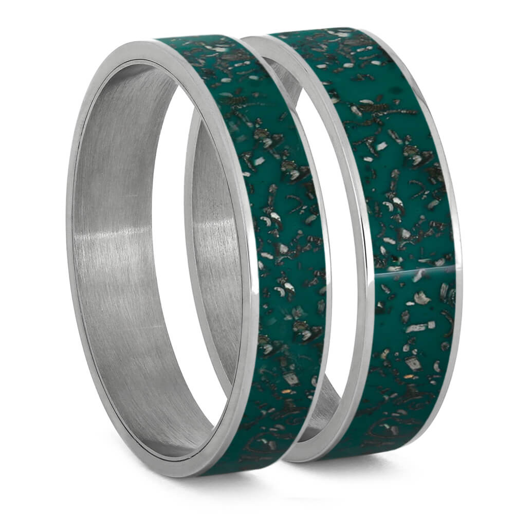 Green Stardust™ Inlays For Interchangeable Rings, 5MM or 6MM-INTCOMP-SD - Jewelry by Johan