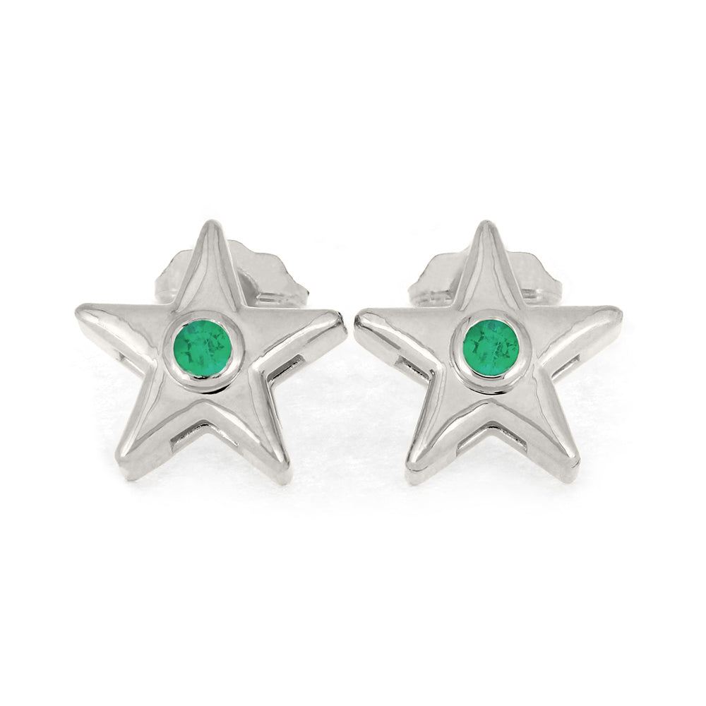 May Birthstone Gold Star Earrings with Emerald-4650EM - Jewelry by Johan