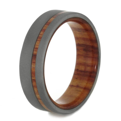 Thin Wedding Band, Sandblasted Titanium Ring With Tulipwood Sleeve-SIG3003 - Jewelry by Johan