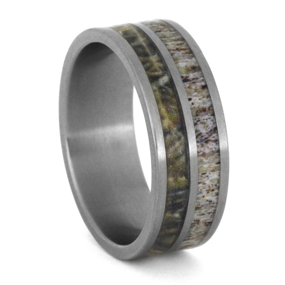 Camo Ring In Titanium Band With Deer Antler Inlay