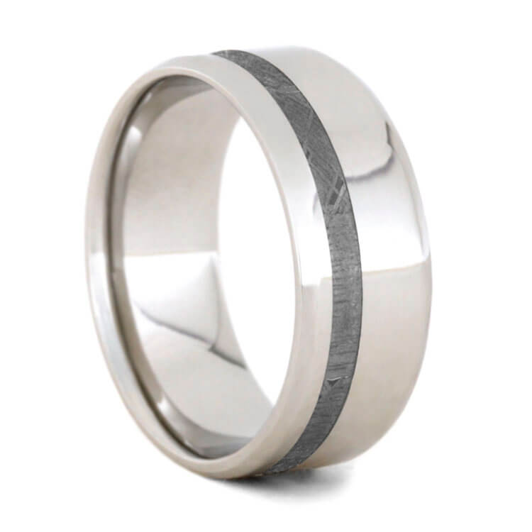 Platinum Men's Wedding Band With Meteorite