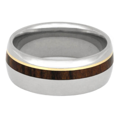 Titanium Ring With Thin Pinstripes Of Ironwood And Yellow Gold-2324 - Jewelry by Johan