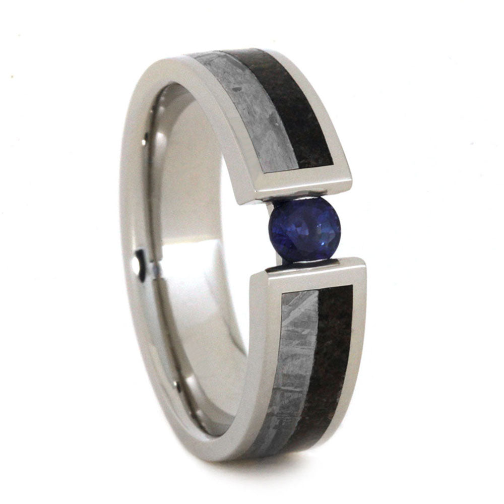 White Gold Engagement Ring With Blue Sapphire And Meteorite