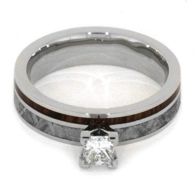 10k White Gold Engagement Ring with Meteorite and Rosewood-2063 - Jewelry by Johan