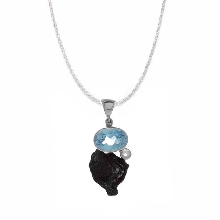 "18"" Sikhote-Alin Meteorite Pendant With Blue Oval Topaz And White Topaz Accent Stone-RSSB1781 - Jewelry by Johan"