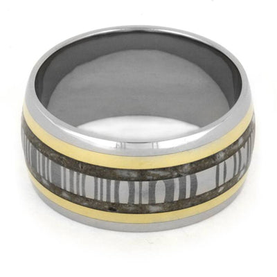 Pet Memorial Jewelry, Damascus Steel and 18k Yellow Gold-1898 - Jewelry by Johan
