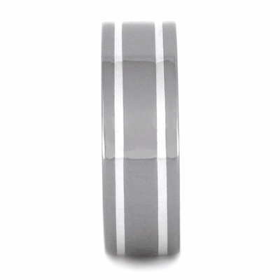 titanium wedding band with sterling silver stripes