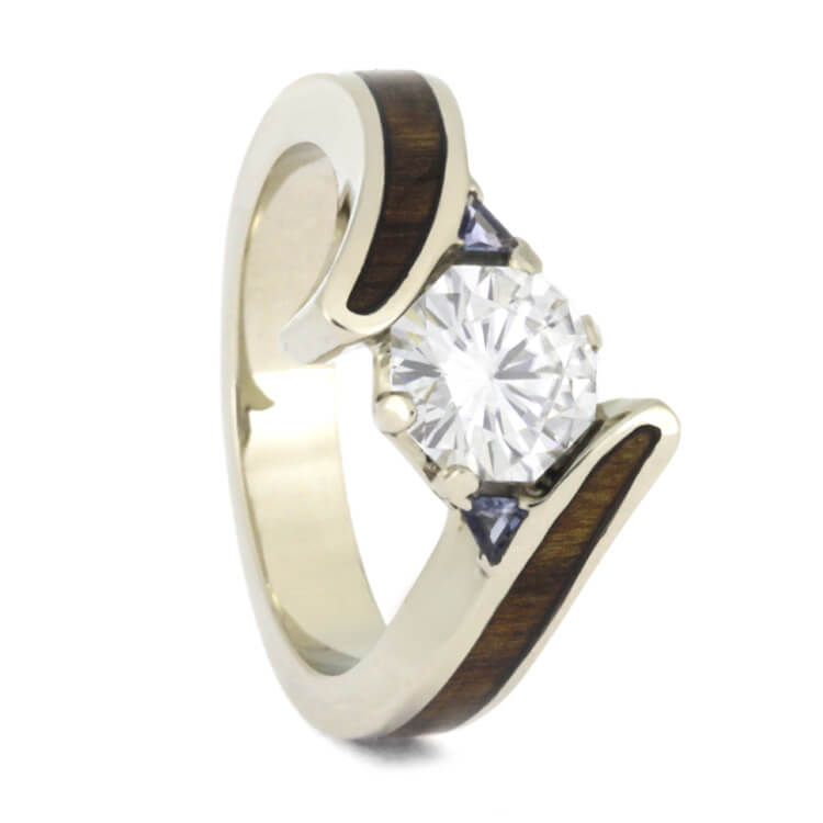 Moissanite Engagement Ring With Tanzanite Accents, Wood Ring in 14k White Gold-2581