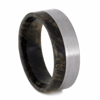 Titanium Wedding Band With Buckeye Burl