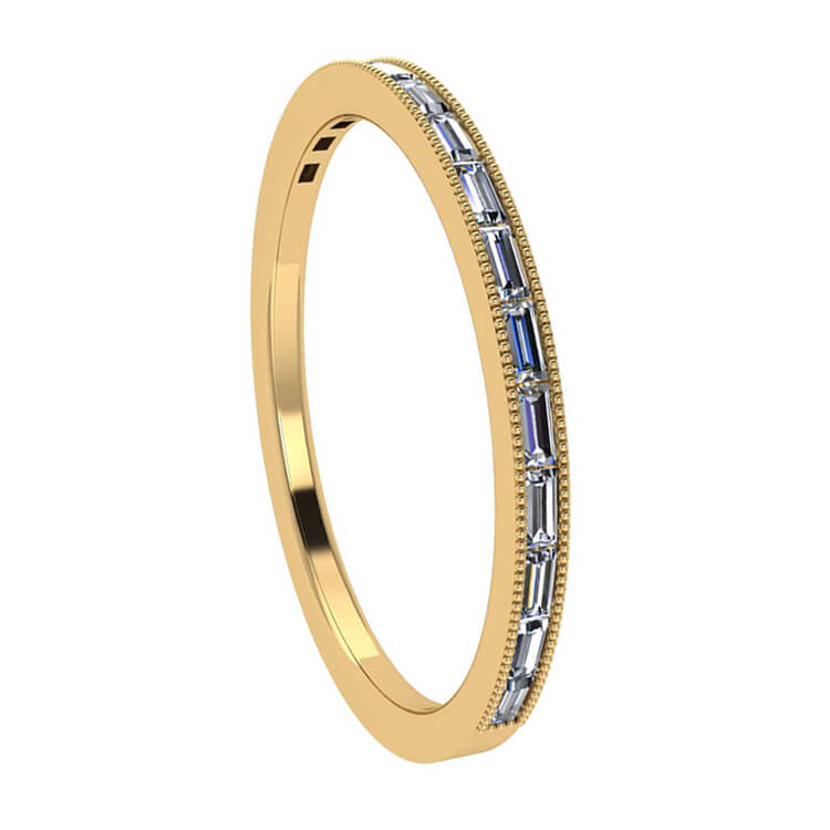 Womens Wedding Band Baguette Diamond Band in 10k Yellow Gold