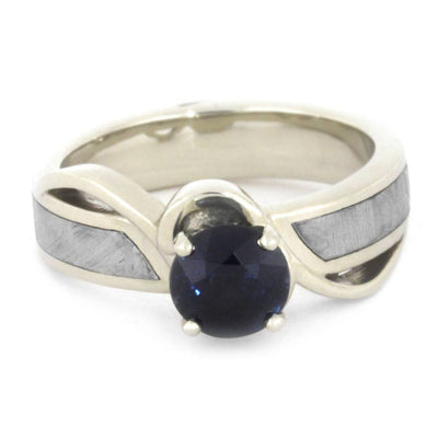 Blue Sapphire Engagement Ring, Meteorite Ring, 10k White Gold Ring