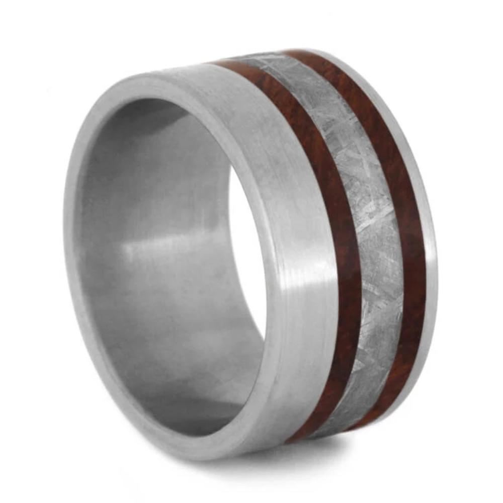 Amboyna Burl Wedding Band, Meteorite Ring With Brushed Titanium