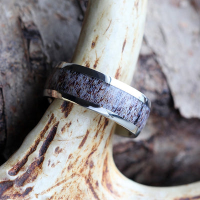 White Gold Ring With Deer Antler Inlay-1716 - Jewelry by Johan