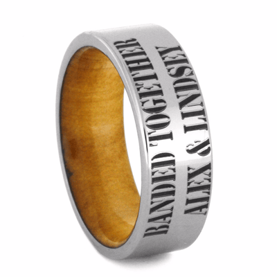 Titanium Ring with Cypress Wood Sleeve, Duck Band-2252 - Jewelry by Johan