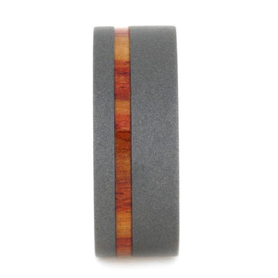 Mens Wedding Band, Titanium Ring with Tulipwood Sleeve-SIG3002 - Jewelry by Johan