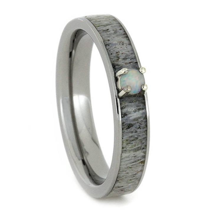Thin Opal Engagement Ring with Deer Antler Inlaid Titanium Band, Size 5.5-RS10457 - Jewelry by Johan