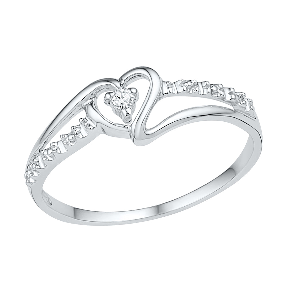 Diamond Heart Promise Ring, Silver or White Gold-SHRH009618ATW - Jewelry by Johan