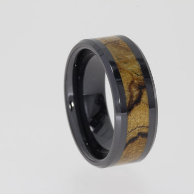 Sindora Wood Ring Inlaid in a Black Ceramic Band-1531 - Jewelry by Johan