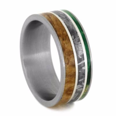Meteorite Ring with Black Ash Burl, Green Box Elder, And Silver