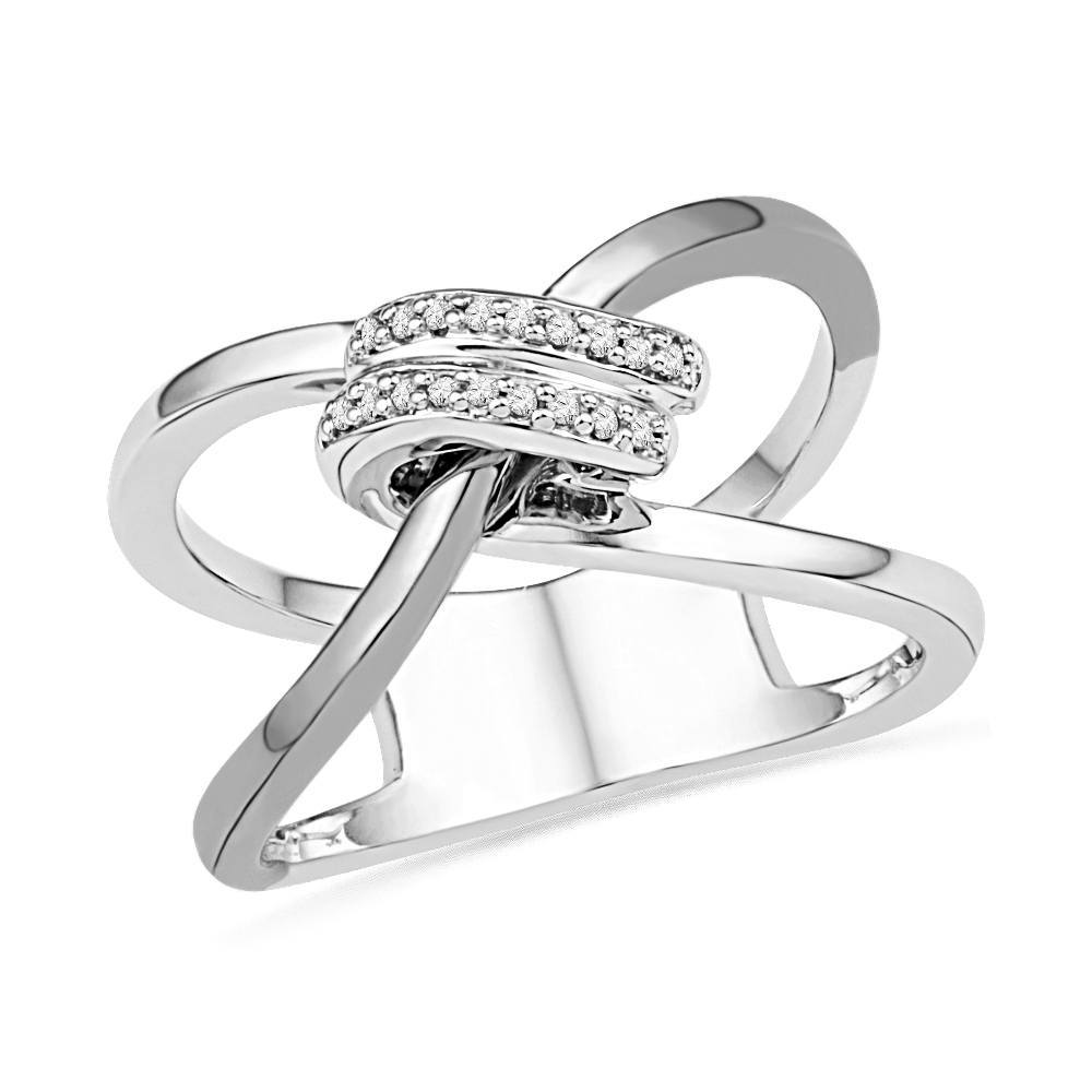 Diamond Knot Fashion Ring, Silver or White Gold-SHRF074480 - Jewelry by Johan
