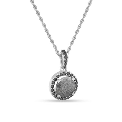 Meteorite Pendant With Gorgeous Black Diamond Accents On 14k White Gold-1670 - Jewelry by Johan