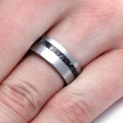 Tungsten Wedding Band with Black and White Mokume Gane-2928 - Jewelry by Johan