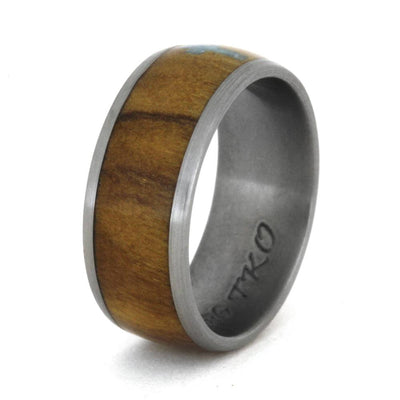 Turquoise Ring with Cross, Wood Wedding Band in Titanium-3368 - Jewelry by Johan