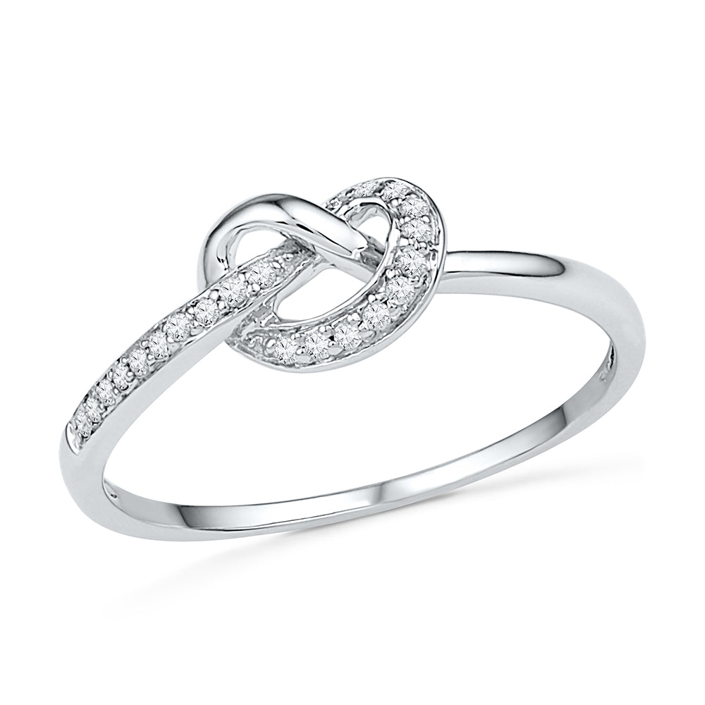 Diamond Love Knot Promise Ring, White Gold or Silver-SHRF030356 - Jewelry by Johan
