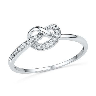 Sterling Silver Diamond Knot Engagement Ring-SHRF030356-SS - Jewelry by Johan
