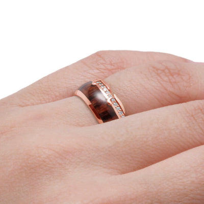 Diamond Eternity Wedding Band With King Wood, Wavy Rose Gold Ring-DJ1013RG - Jewelry by Johan