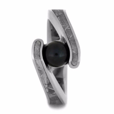 Black Akoya Pearl Engagement Ring, Meteorite Bridal Set-2156 - Jewelry by Johan